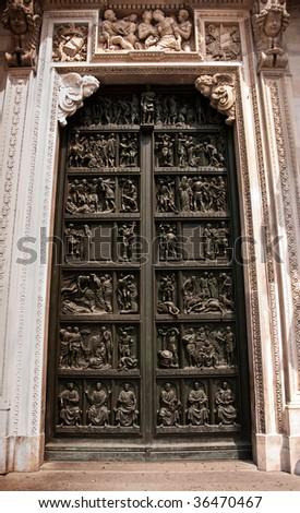 Door of the Duomo, Milan - stock photo