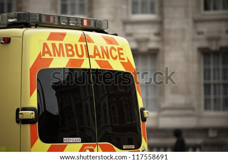 Door of the emergency ambulance car - selective focus - stock photo
