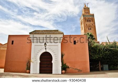 Door of the koutoubia Mosque in Marrakesh, Morocco - stock photo