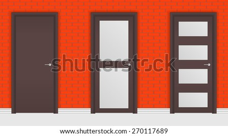 Door on Red brick wall background.. Raster version - stock photo