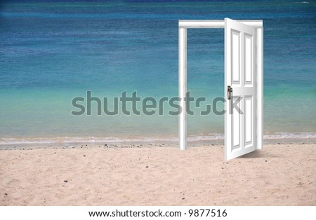 Door on the beach, opened to a view of paradise - stock photo