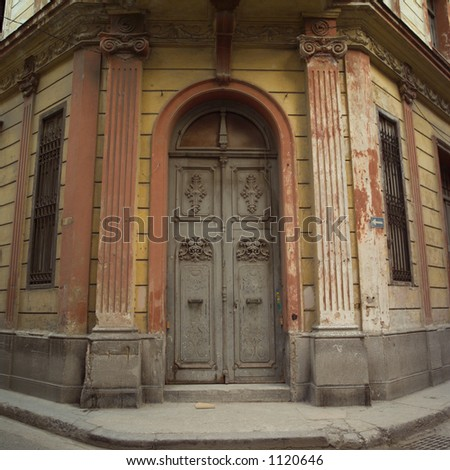 Door on the corner of a building, Havana, Cuba - stock photo