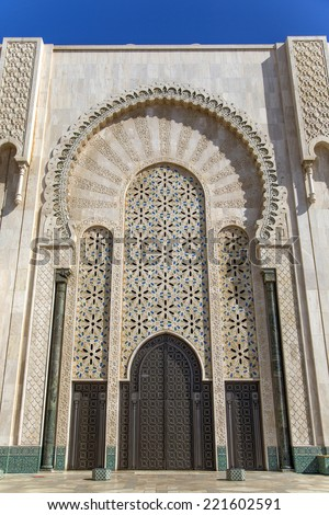 Door on the mosque Hassan II in Casablanca, Morocco - stock photo