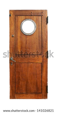 Door on the ship, isolated on white - stock photo