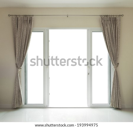 door open  and curtain on white - stock photo