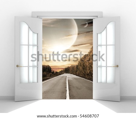 Door open in the alien world - stock photo