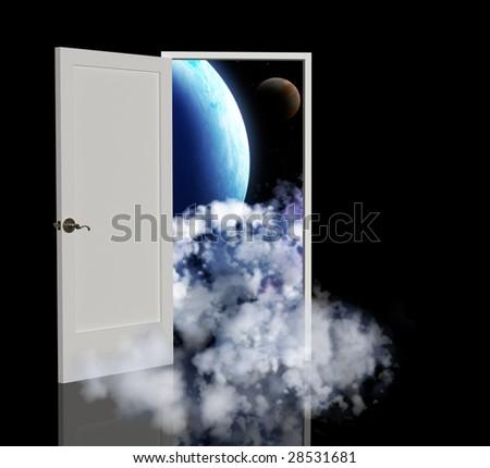 Door open in the other galaxy - stock photo