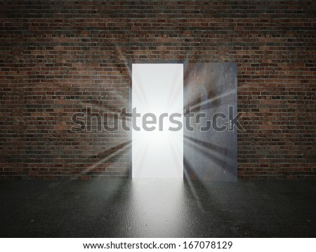 door open on brick wall ,3d