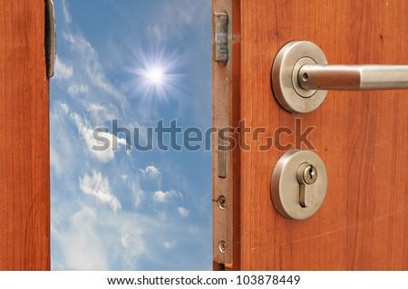 Door open to sky - stock photo