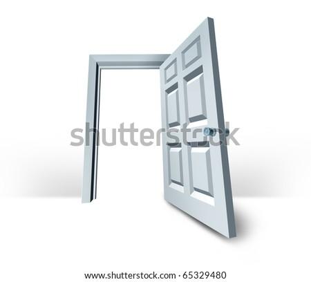 door opened  doorway success white blank isolated - stock photo