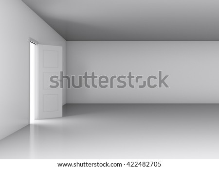 Door, opened from an empty room. 3D illustration