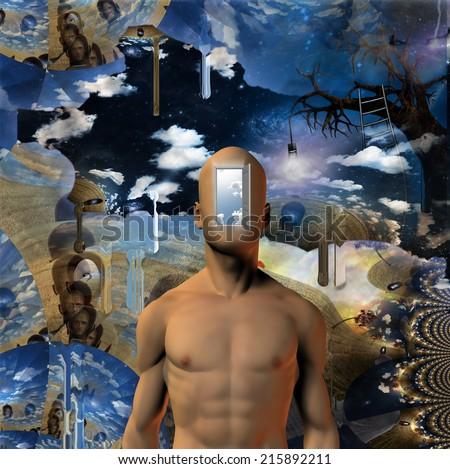 Door opened to mans mind - stock photo