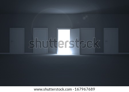 Door opening revealing light - stock photo