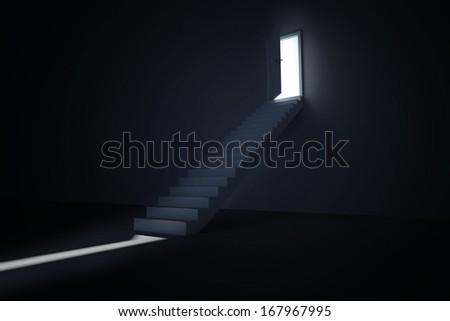 Door opening revealing light at top of steps - stock photo