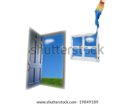Door opening to green grass and blue sky, and painted window