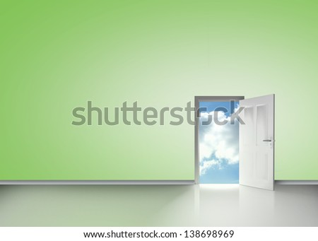 Door opening to reveal blue cloudy sky in green room - stock photo