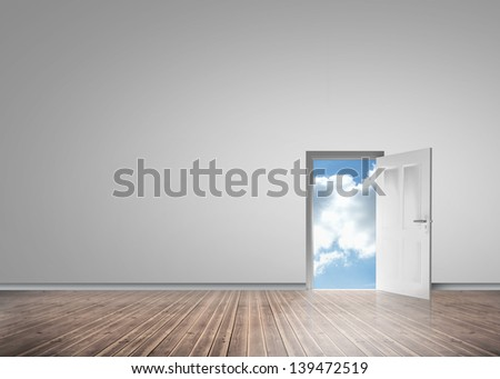 Door opening to reveal sunny blue sky in a grey room with floorboards - stock photo