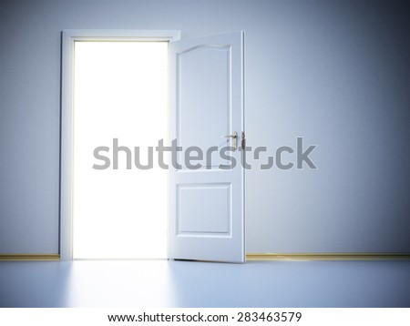 Door opening trough a corridor  with shining light