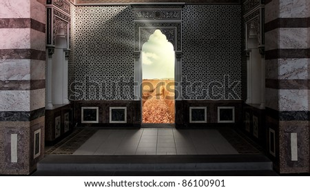 door out of the mosque into the paradise field - stock photo