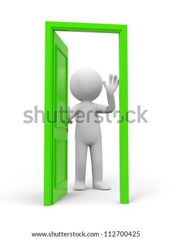 Door/ people and a opened door - stock photo
