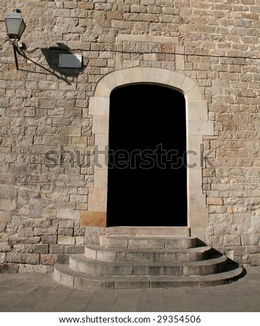 door's blank space at an ancient building - stock photo