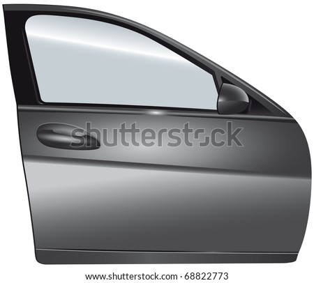 Door silver car - stock photo
