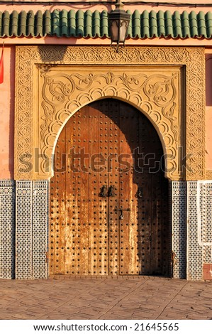 Door to a traditional house in Marrakech, Morocco - stock photo