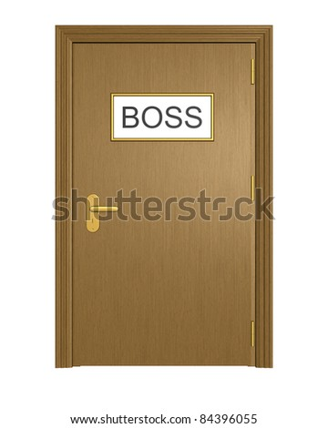Door to boss office. Isolated on the white background. - stock photo