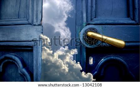 Door to heaven - stock photo