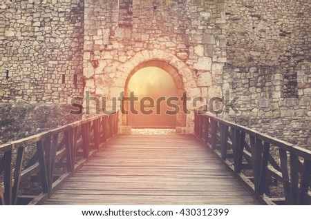 Door to Heaven. Light at end of the tunnel. Hope metaphor. - stock photo