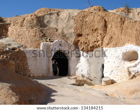 Door to Matmata underground house in Tunisia - stock photo