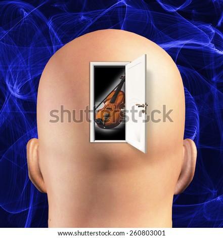 Door to mind reveals violin - stock photo