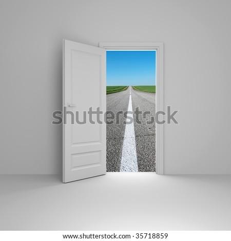 Door to new way - stock photo
