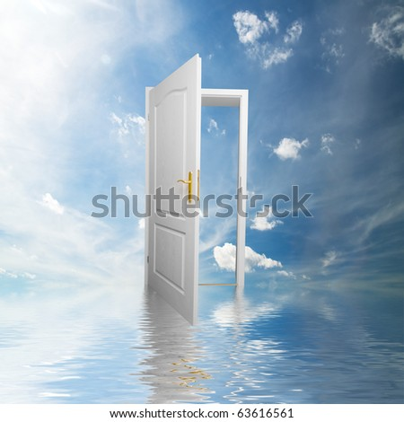 Door to new world. Open door in sky conceptual. Other original versions of this concept available in my portfolio. - stock photo