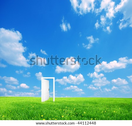Door to new world. See also different versions in my portfolio. - stock photo