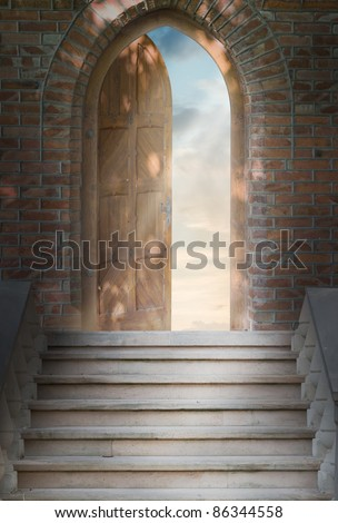 Door to new world. The door to paradise. - stock photo