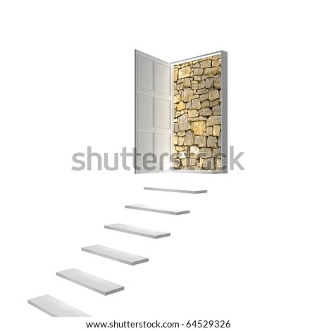 Door to nowhere, no way out - stock photo
