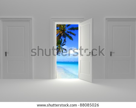 Door to paradise, beautiful island view behind an open door concept. - stock photo