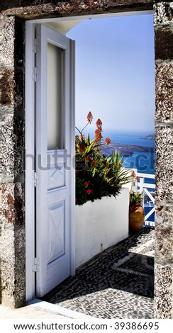 door to santorini island greece