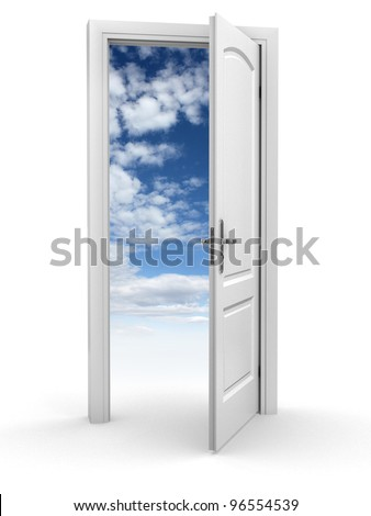 door to sky - freedom abstract concept - stock photo