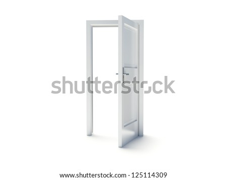Door to sky on the white background