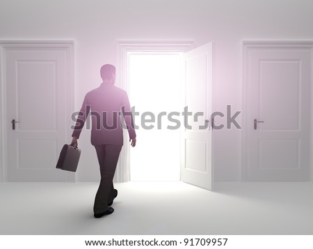 Door to success, Business male choosing the entrance to an open door. Female version also available
