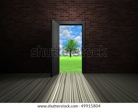 Door to the green world - stock photo