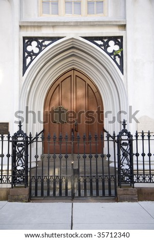 Door to the Huguenot Church in Charleston, South Carolina.  This is a National Historic Landmark