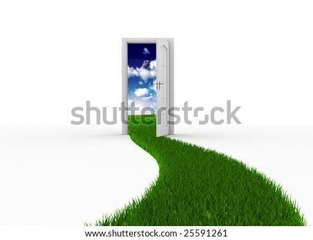 Door to the new world - stock photo
