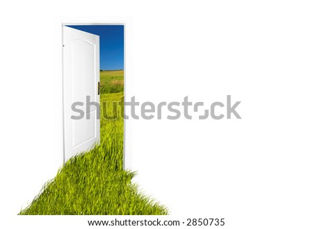 Door to the new world. Easy editable image. - stock photo