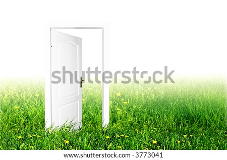 Door to the new world. Easy editable image - stock photo