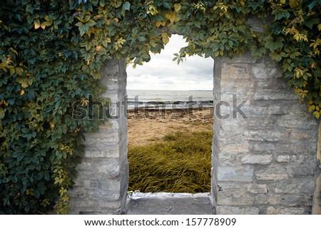 door to the sea - stock photo