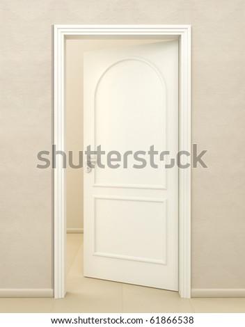 Door white wood - stock photo