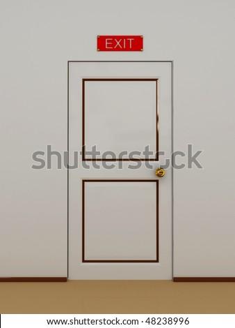Door with an inscription on the door exit.3D - stock photo